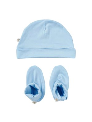 Baby hue og futter blå 0-3 mdr