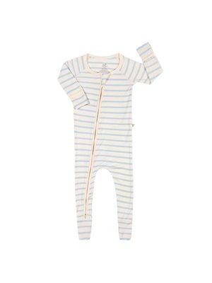 Baby sparkedragt stribet  hvid/blå nyfødt