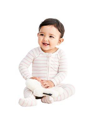 Baby sparkedragt stribet  hvid/rose nyfødt
