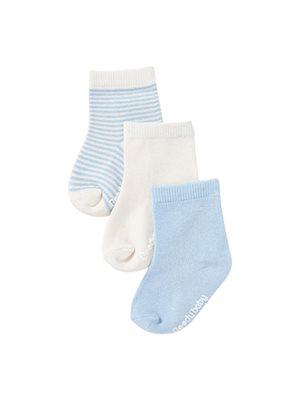 Baby strømper blå 3-6 mdr  3-pak
