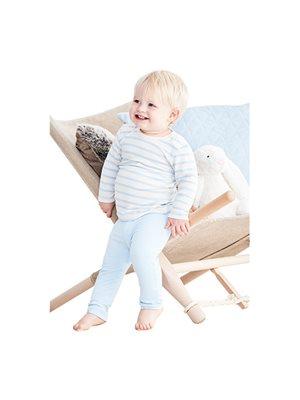 Baby T-shirt langærmet   stribet hvid/blå 3-6 mdr