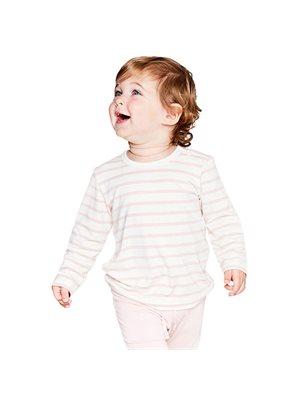 Baby T-shirt langærmet  stribet hvid/rose 6-12 mdr