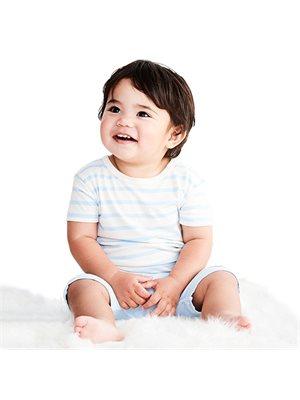 Baby T-shirt stribet  hvid/blå 6-12 mdr