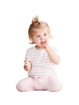 Baby T-shirt stribet  hvid/rose 6-12 mdr