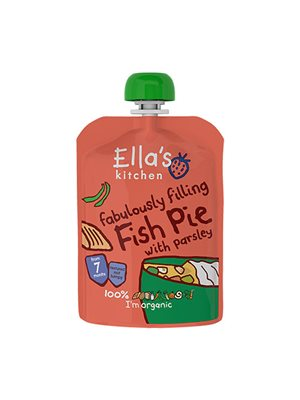 Babymos Ø fisketærte m.  grønsager & persille 7 mdr Ellas Kitchen
