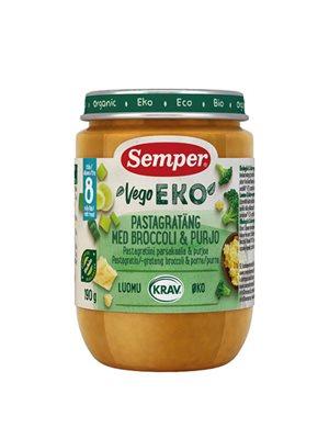 Babymos pastagratin, broccoli, porre fra 8 mdr Ø