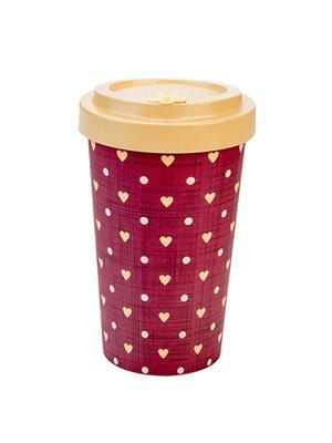 Bambus Cup to go beige hjerter 500 ml