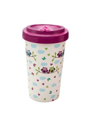 Bambus Cup to go lilla ugler 500 ml