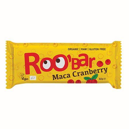 Bar maca & tranebær Ø Roobar   100% Raw