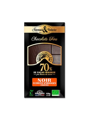 Chokolade 70% mørk m. appelsinskal Ø kandiseret