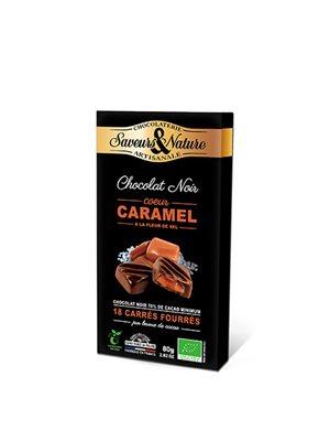 Chokolade fyldt 70% Havsalt, Ø Karamel - 18 stk