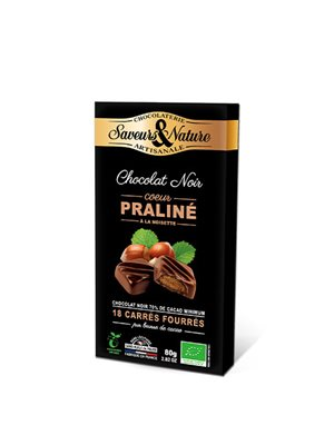 Chokolade fyldt 70% m.hasselnødde praline Ø Hasselnøddepraliné 18 stk