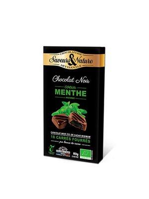 Chokolade fyldt 70% mint Ø ganache 18 stk