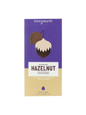 Chokolade Hazelnut Ø m 42% kakao & hasselnød Loving Earth