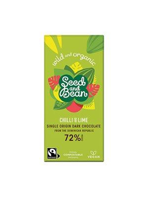 Chokolade mørk 72% chilli &  lime Ø Seed & Bean