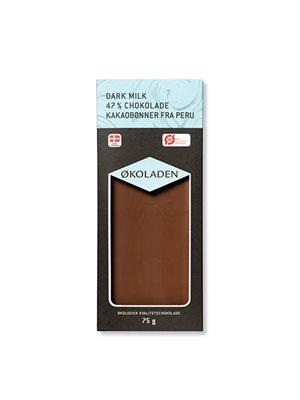 Chokolade mørk mælk 47% Ø kakaobønner fra Peru