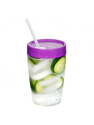 Drikkekop med sugerør 525 ml Pink, lilla, blå, grøn