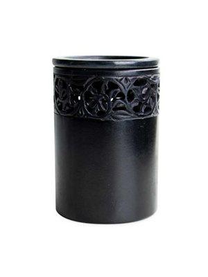 Duftlampe (sort fedtsten) 8  x 11cm høj