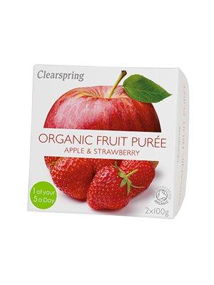 Frugtpuré æble, jordbær Ø