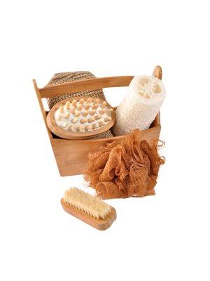 Gavesæt i bambus Neglebørste, mass.børste, peeling