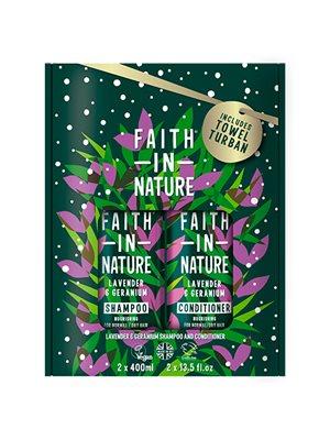 Gavesæt Lavendel & Geranium  Shampoo & Balsam Faith in Nature