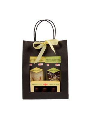 Gourmet gavepose gul Ø indh. 2 chokoladeplader & 3 marcipanæg
