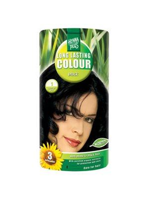 Hennaplus 1 hårfarve black  Long Lasting Colour