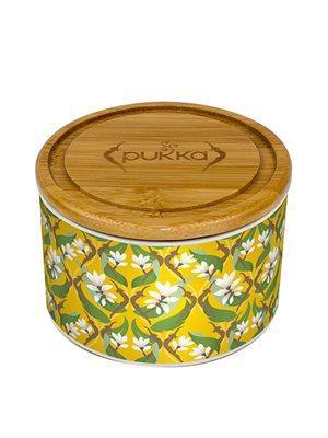 Keramik krukke Turmeric Gold m. 10 tebreve Ø