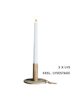 Kronelys LED hvid 2-pak 2,5 x 28 cm