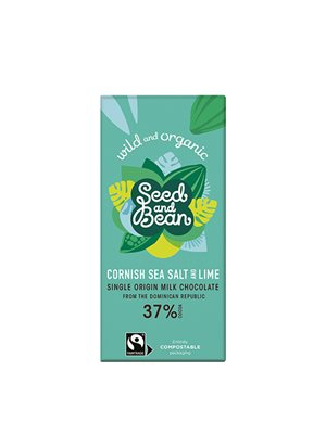 Mælke Chokolade 37 % Cornish Ø Sea Salt & Lime Seed & Bean