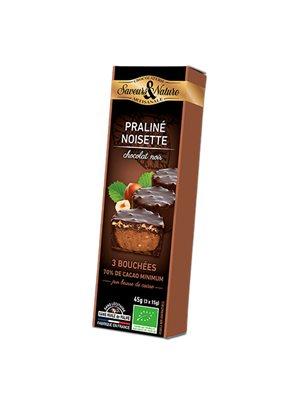 Minitærte Hasselnød & mørk Ø Chokolade 70 % - 3 stk