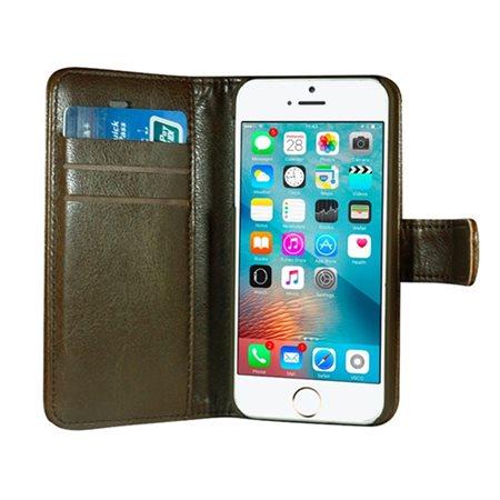 "Mobilcover iPhone 5/5S/SE brun ""Fasion"", PU læder, flipside"