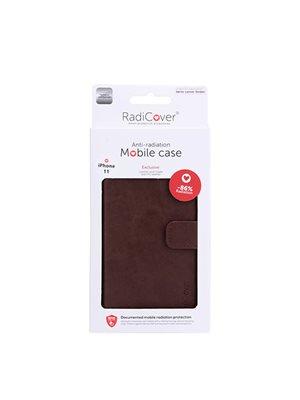 Mobilcover til iPhone 11 brun anti-stråling PU læder