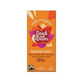 Mørk chokolade 72%  m.mandarin & ginger Ø Seed & Bean