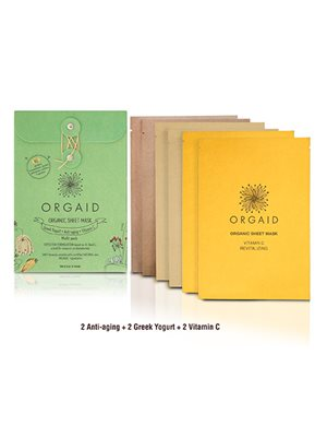 Organic sheet mask  multipack 6 stk 3 var. greek yoghurt, vitamin C, Anti-aging