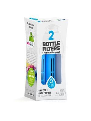 Refiller filterflaske Blå 2 stk refiller + mundstykke