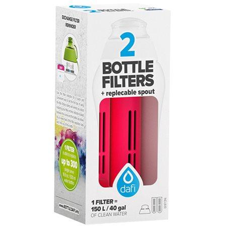 Refiller filterflaske Rød 2 stk refiller + mundstykke