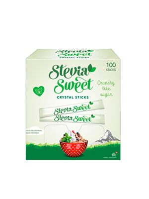 SteviaSweet Crystal Sticks  100 x 2 g