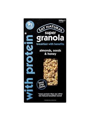 Super Granola m. mandler, frø  og honning m. protein - Eat Natural