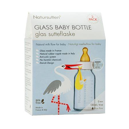 Sutteflaske glas små fra 0 mdr Slow-Flow