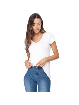T-Shirt Dame hvid str. S V-hals