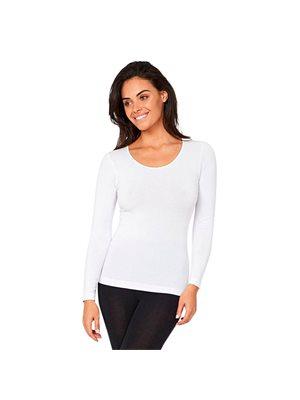 T-shirt Dame langærmet hvid  str. L rund hals
