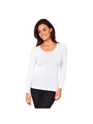 T-shirt Dame langærmet hvid str. S rund hals