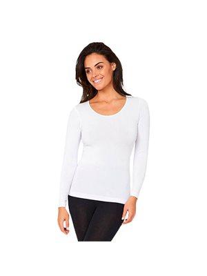 T-shirt Dame langærmet hvid  str. XL rund hals
