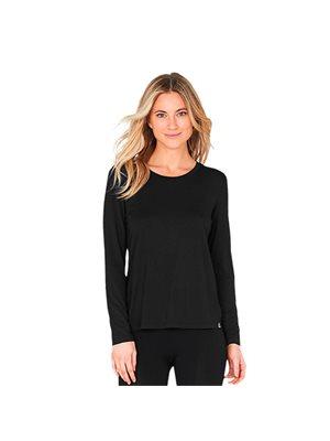 T-shirt Dame langærmet sort str. S rund hals