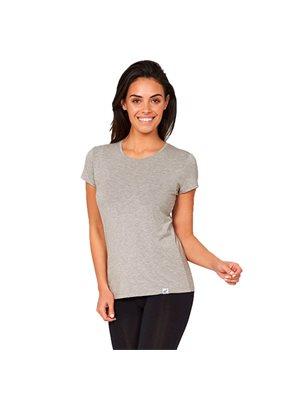 T-Shirt Dame lys grå str. S rund hals