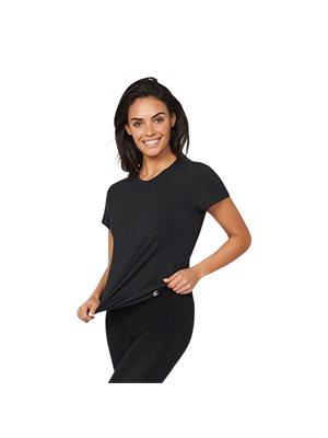 T-Shirt Dame sort str. L rund hals