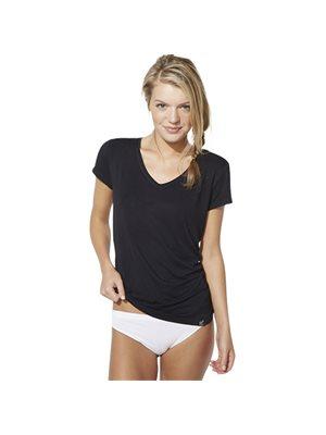 T-Shirt Dame sort str. L V-hals