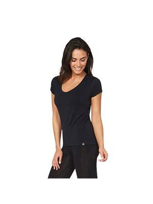 T-Shirt Dame sort str. XL V-hals