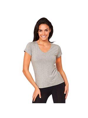 T-Shirt Dame V-hals lysegrå str. XL